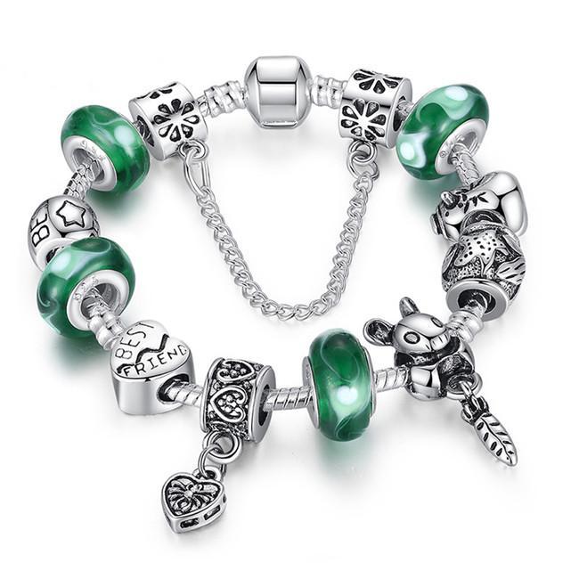 Venta al por mayor Plata verde Bead Animal Best Friend Charm Pulsera con cadena de seguridad para mujeres Joyería original Cuenta de vidrio para Pandora Pulseras