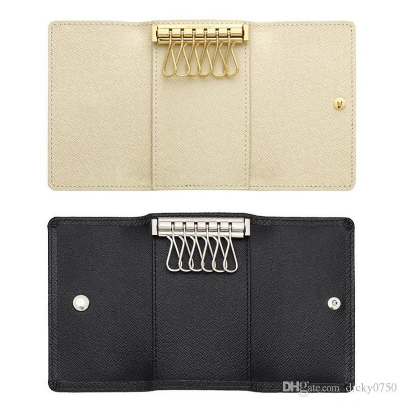 2017 Wholesale original box luxury multicolor short wallet six key holder women men's classic zipper pocket key chain free shipping 62630