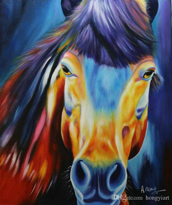Hot Sell 100% Pure Hand Painted High Quality Modern Living Room Home Decoration Wall Art Color Animal Horse Oil Painting Canvas.Multi Sizes