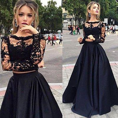 Black Two Pieces Prom Dresses Sexy Lace Long Sleeves See Through Top Elegant High Quality Floor Length Satin Long Skirt Evening Dresses