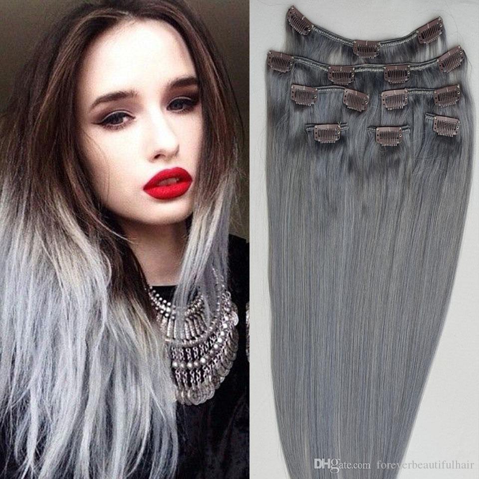 8a الصف 7 قطع 16 مقاطع رمادي اللون مستقيم البرازيلي مقطع الشعر البشري في الشعر 120 غرام شحن مجاني