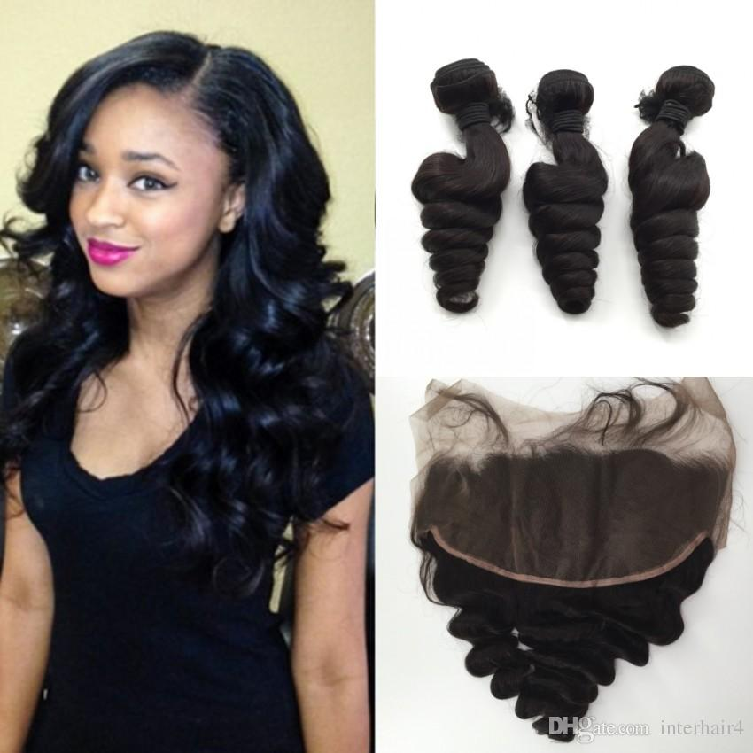 New Arrival 3 Bundles Loose Wave Human Hair With Lace Frontal Closure 13*6 Brazilian Ear To Ear Full Lace Frontals With Hair Weaves
