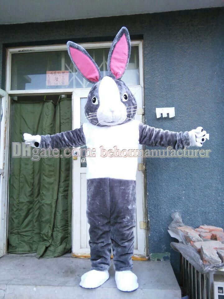 Kaninchen Maskottchen Kostüm freies Verschiffen und Verkauf von hochwertigem grauem Plüschmaskottchen Hase Maskottchen erwachsenen Typ Rabatt.