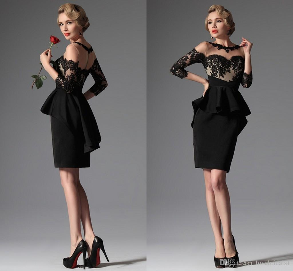 2017 Black sexy Cocktail Dresses short Sheer Lace Applique Crew Neckline Peplum Sheath Party Gowns for women