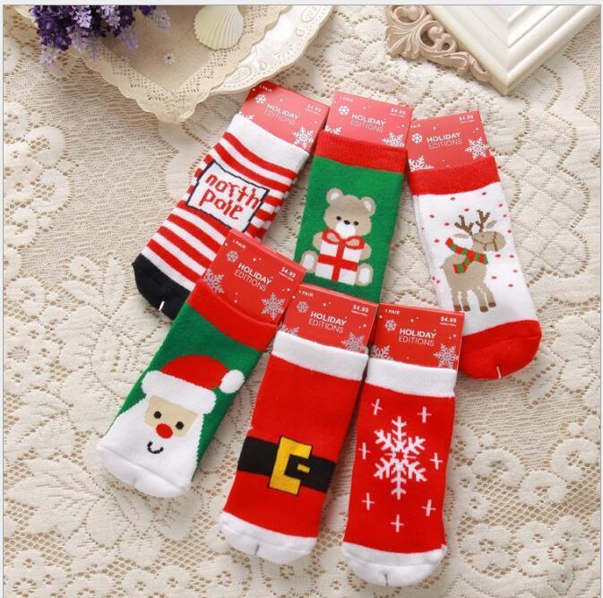 Niño 2016 niños niñas calcetines navideños con estampado bebé ciervo copo de nieve santa niños otoño invierno invierno infantil al por mayor calcetines para 1-10t 6 estilos