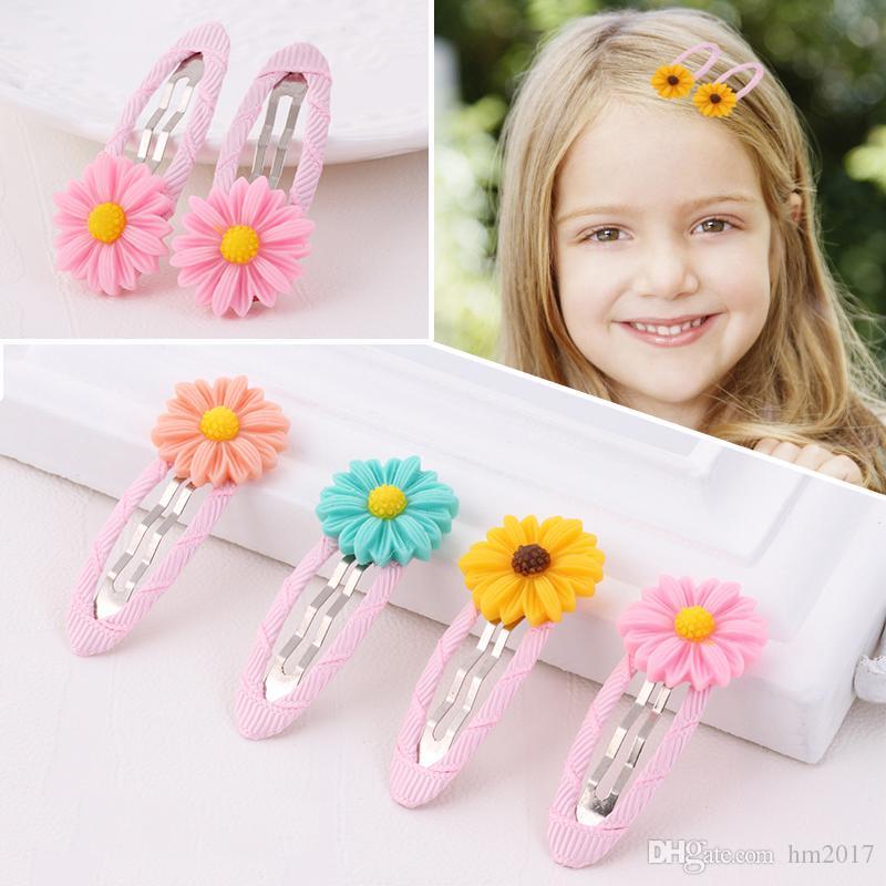 새로운 디자인 귀여운 아름다운 작은 데이지 꽃 머리 핀 5.5 * 2.3cm 여자들은 머리띠 어린이 헤어 클립 어린이 헤어 액세서리 헤어핀