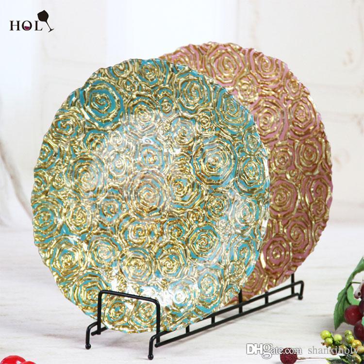 Großhandel Geschirr Catering Gold Silber Blume geprägtes Glas Hochzeit Ladegerät Platte