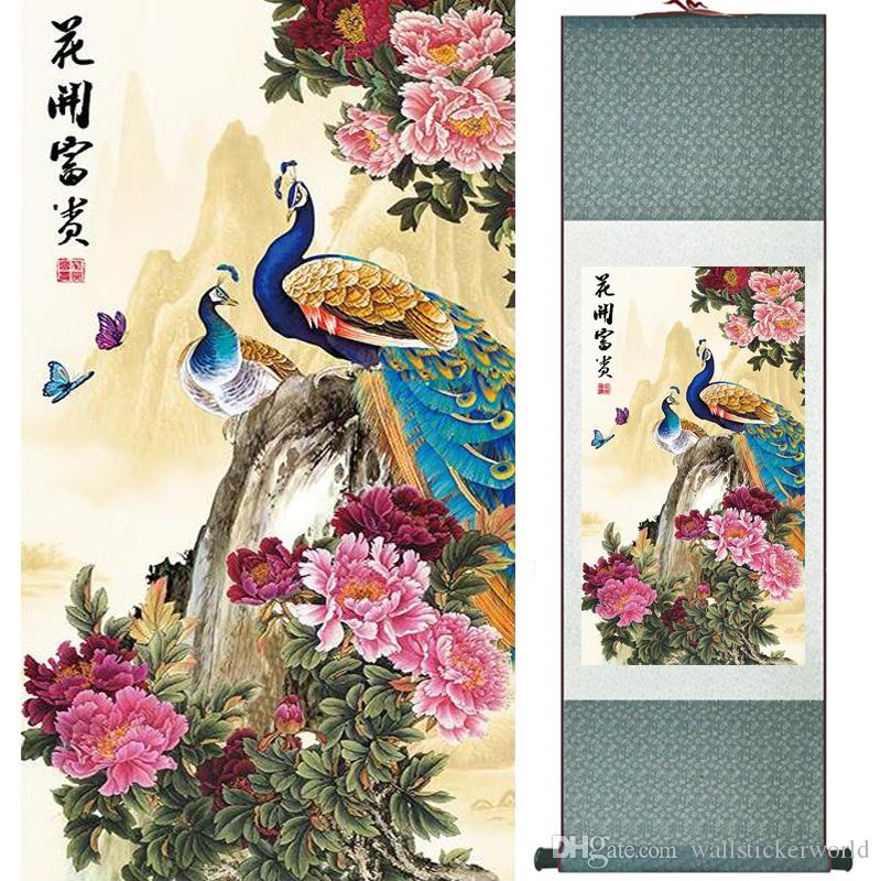 1 Piece HD Printed Peacock Animal Wall Pictures Chinese Scroll Silk Wall Art Poster Picture Painting Home Decoration Wall Decor