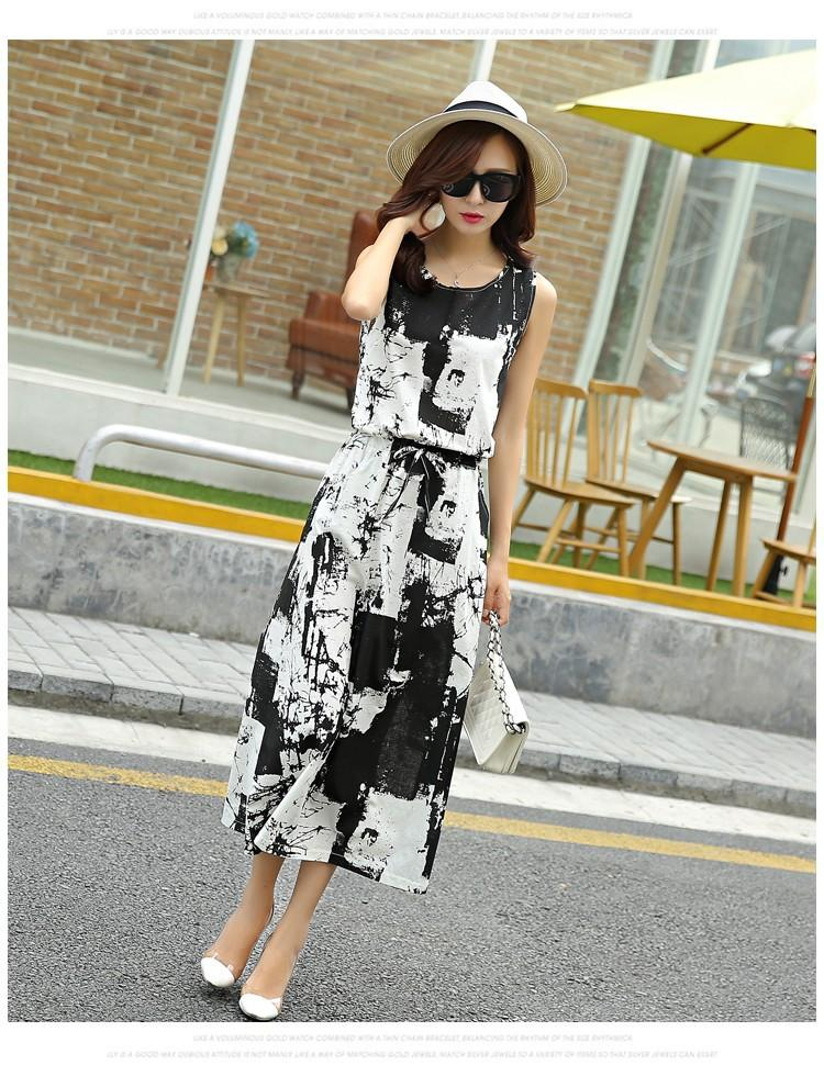 Women Retro Ink Printing Loose Long Section Vintage 2016 Summer Style Round Neck Sleeveless Cotton Dress Plus Size