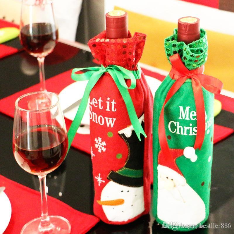 Weihnachtsweinflasche deckt Rotwein sackt Dekoration Sankt-Schneemann-Art mit roter hübscher Bindung 2Pcs mit Kleinpaket-Tropfenverschiffen ein
