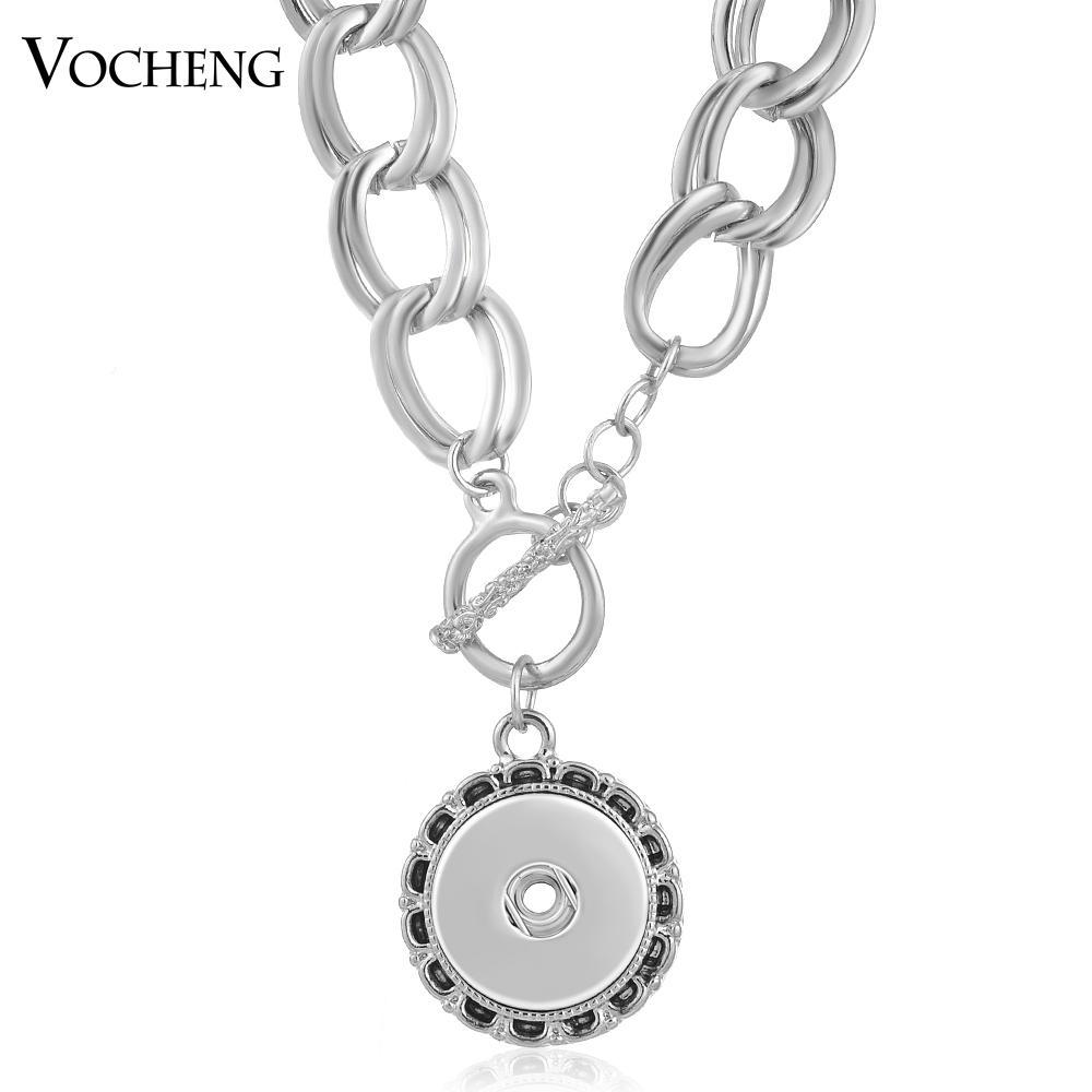 VOCHENG NOOSA 목걸이 스냅 매력 교환 할 수있는 보석 18mm 라운드 매달려 프론트 체인 펜던트 NN - 500