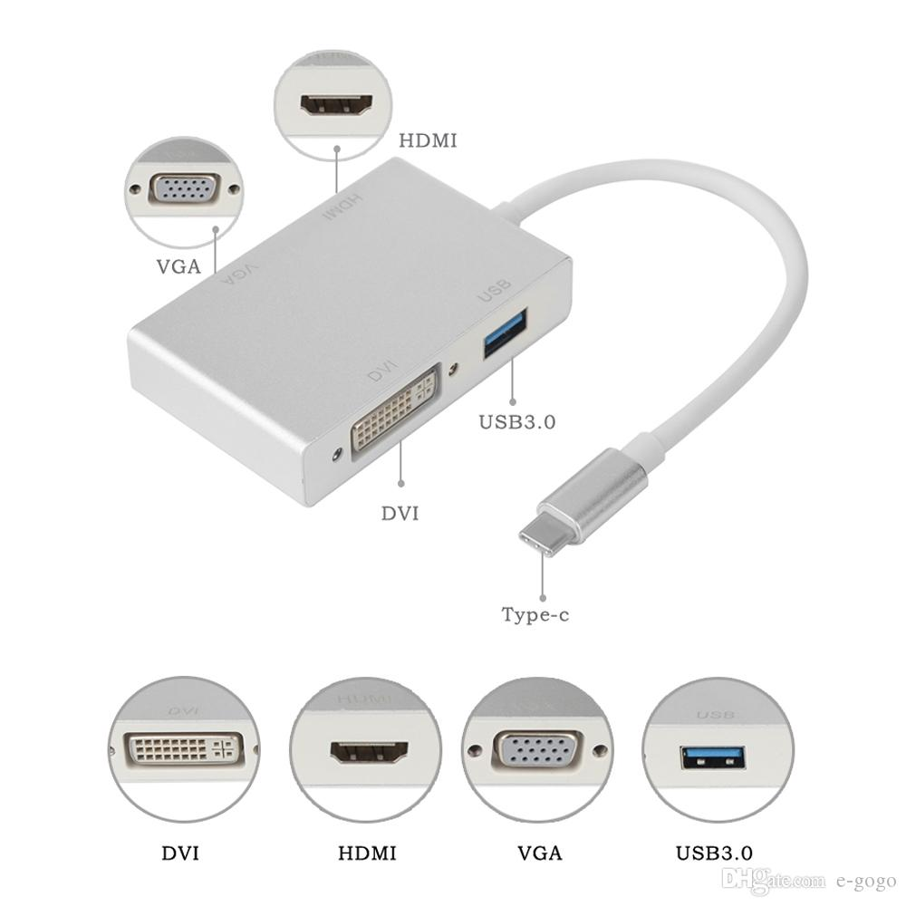 4in1 3.1 USB C Hub Type-C to 4K HDMI//DVI//VGA Video Adapter Converter For MacBook