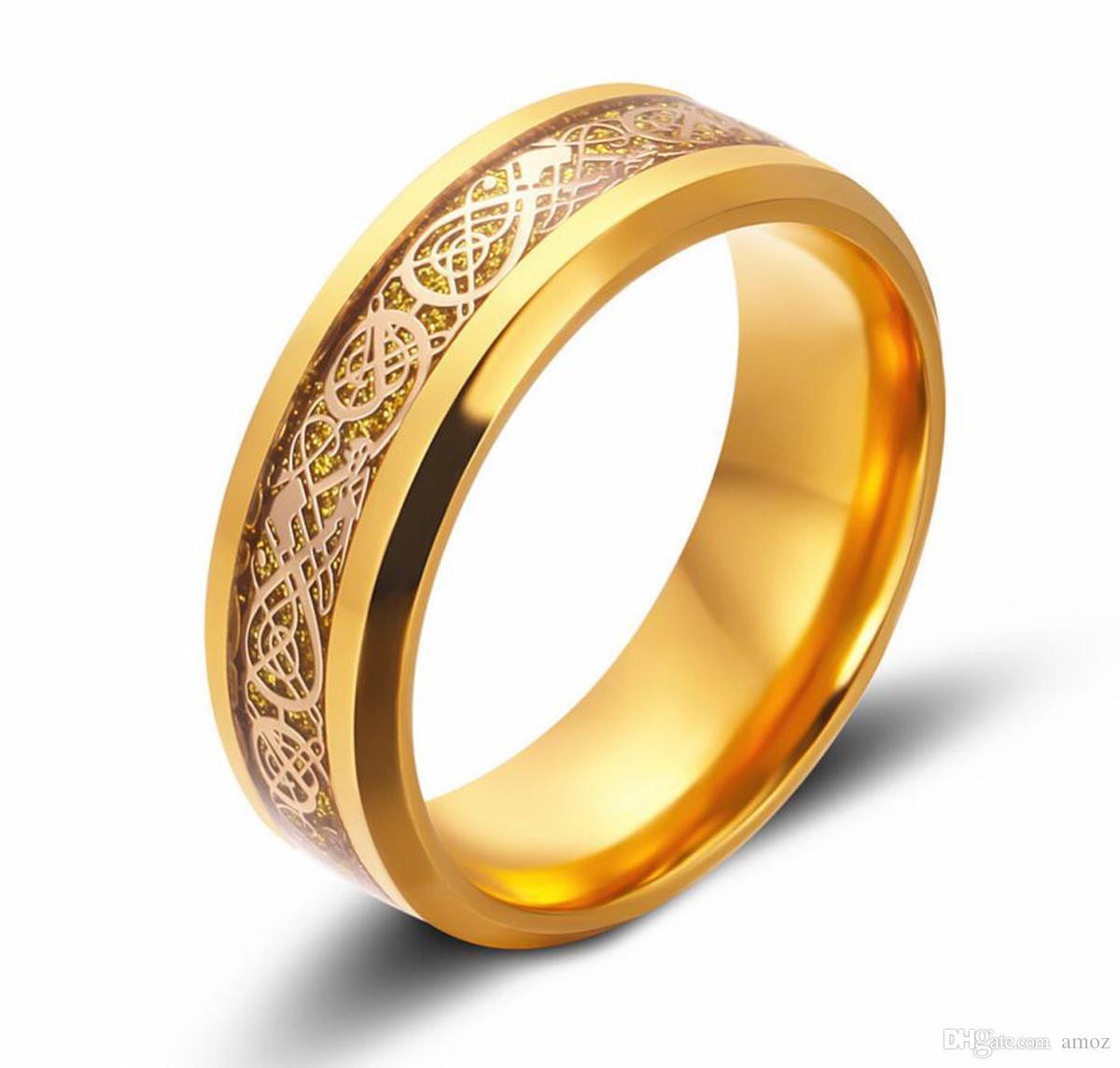 Bague de mariage en acier inoxydable avec anneau en acier inoxydable pour homme