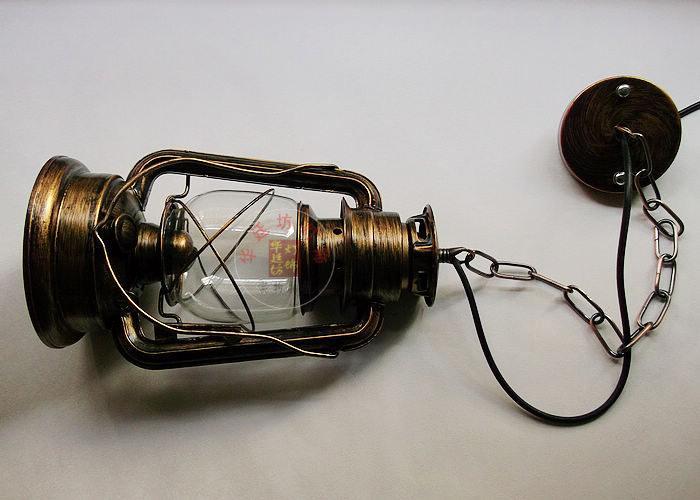 Loft Vintage Kerosene Iron Galss Pendant Lamps Outdoor Lights Stair Lantern Light Fixture Luminaire