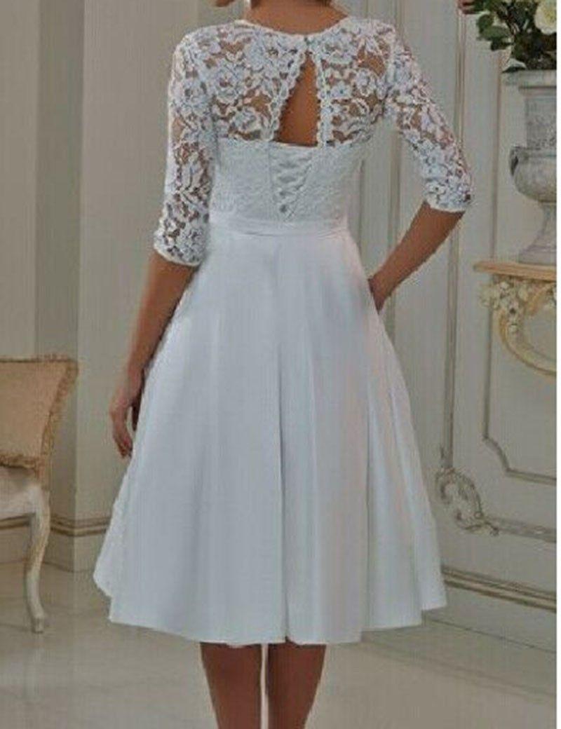 Discount Tea Length Short Wedding Dresses With Bow Half Sleeve ...