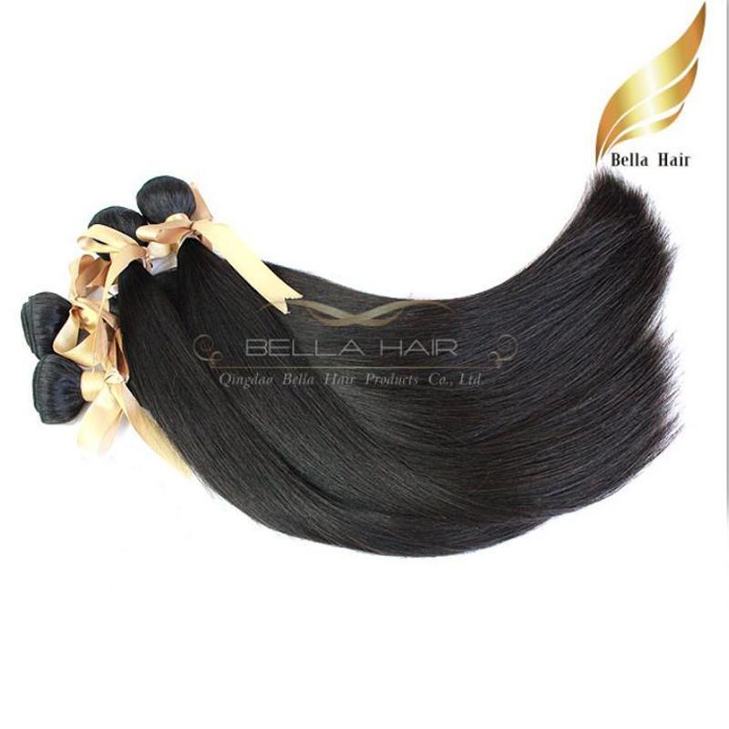 Högkvalitativ brasiliansk 100% Human Hair Extensions 2pcs / Lot Haft Weft Rak hårbuntar Vävar naturlig färg Bellahair