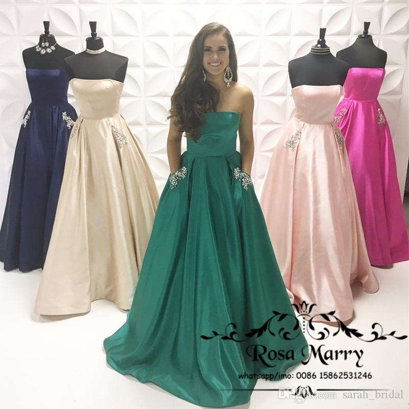 Emerald Green Plus Size Bridesmaids Dresses With Pockets 2020 A Line  Strapless Crystal Country Beach Maid Of Honor Cheap Wedding Guest Gowns  Black ...