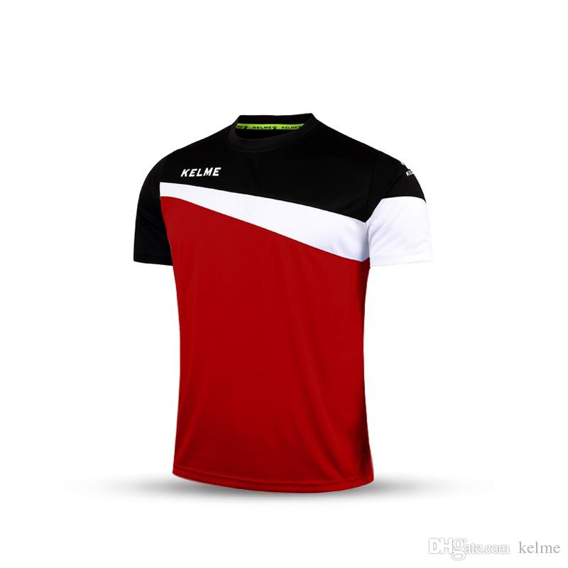 Free Shipping Kelme K15Z219 Men Short Sleeve Training Football Jersey T-shirt Red Black White