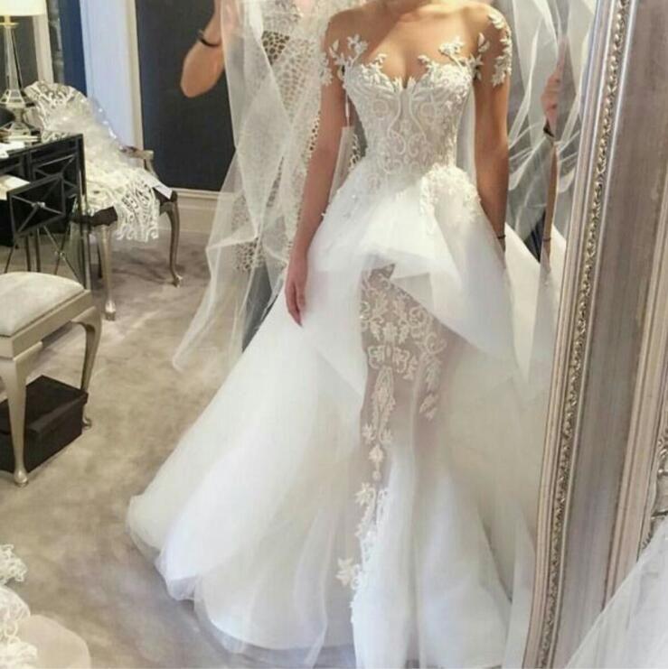 Zuhair Murad Mermaid Wedding Dresses Illusion Lace Short Sleeves Arabic Bridal Gowns With Sheer Crew Neck Peplum Organza Dresses