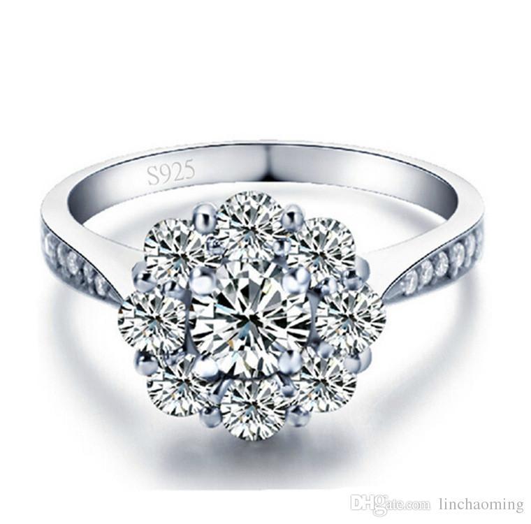 De calidad superior 925 Party los anillos de boda anillo de plata de plata con circonio cúbico oro blanco del anillo de ajuste del juego de los anillos de las mujeres de joyería fina