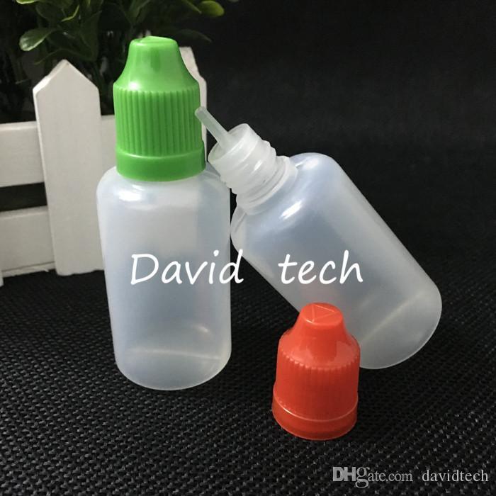bottiglie goccia PE E cig a prova di bambino bottiglia ago con tappi a prova di bambino 30ml bottiglie vuote per E liuid e succo di frutta
