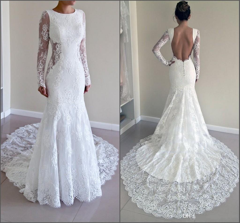 Sexy Backless Volle Spitze Meerjungfrau Brautkleider Mit Sheer Long Sleeves Illusion Mieder Gericht Zug 2016 Modest Plus Size Bridal Garden G ...