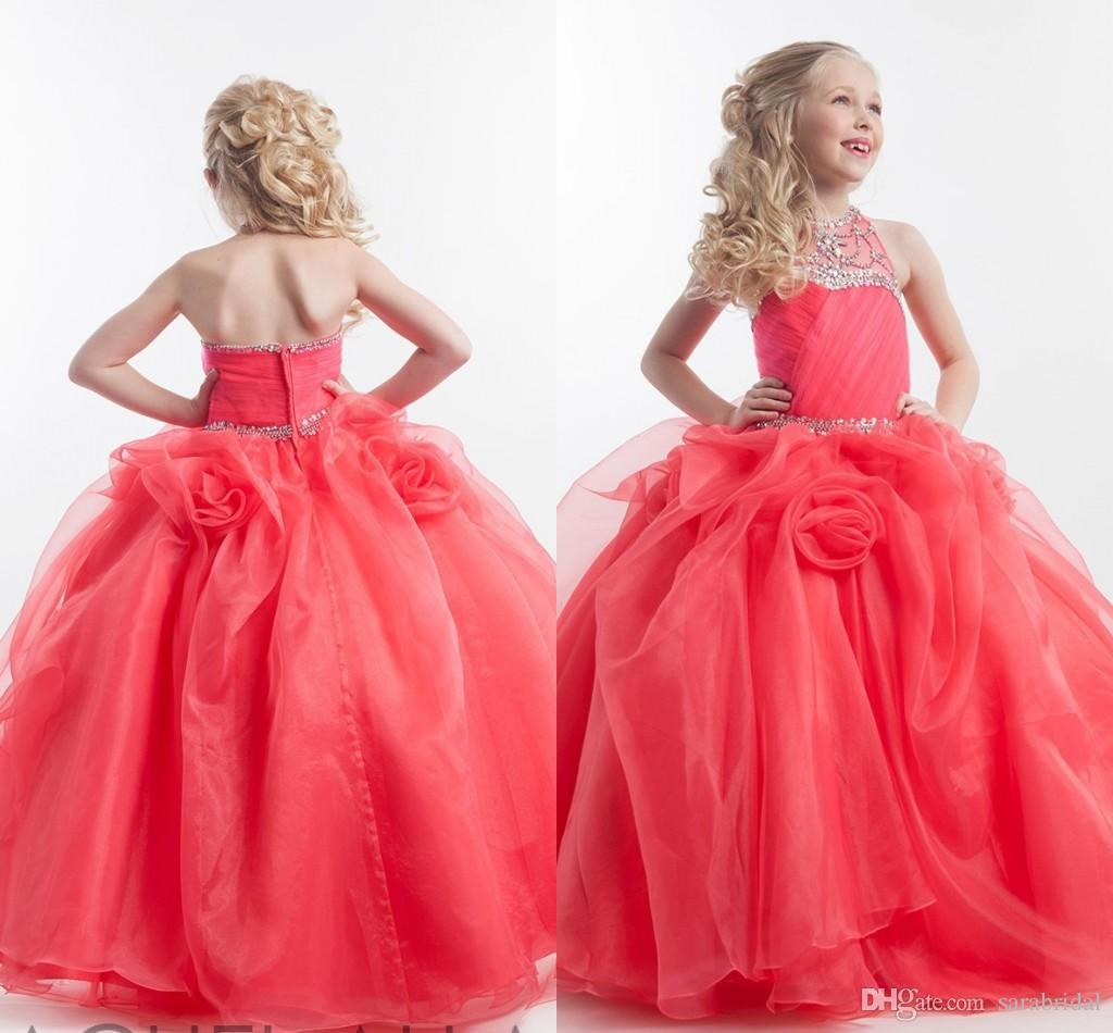2016 Fuchsia Girl\'S Pageant Dresses Jewel Beading Organza Ball Gown ...