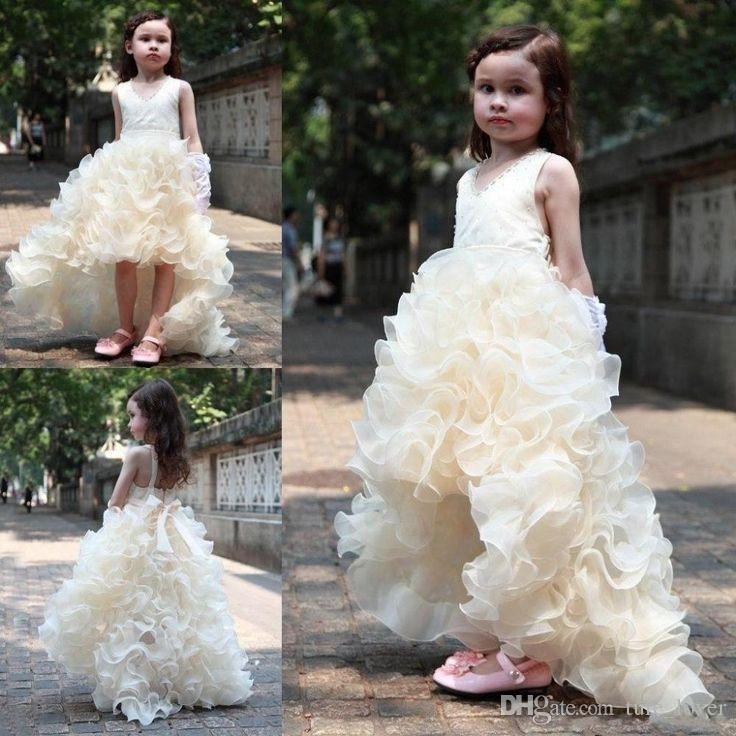 2016 neue Mode Hallo-Lo Mädchen Festzug Kleider Kinder V-ausschnitt Rüschen Organza Hochzeit Blumenmädchen Tanzen Kleider Eine Linie Weihnachtskleider