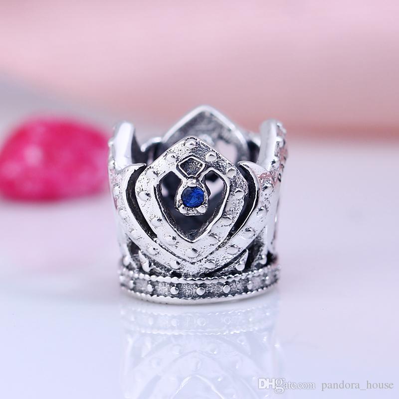 100% Réel 925 Sterling Argent Non Plaqué De Luxe Couronne CZ Charmes Européens Charmes Perles Fit Pandora Bracelet Bijoux DIY