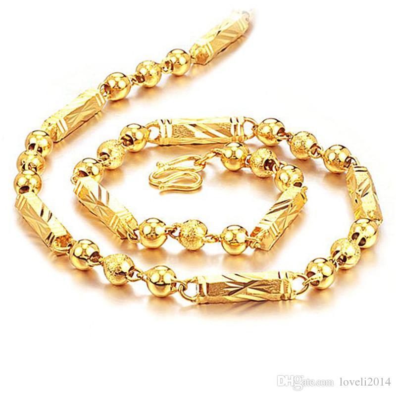 24 K żółty złoty naszyjnik, Darmowa wysyłka, Factory Direct, Długość: 55 cm, Waga: 45g