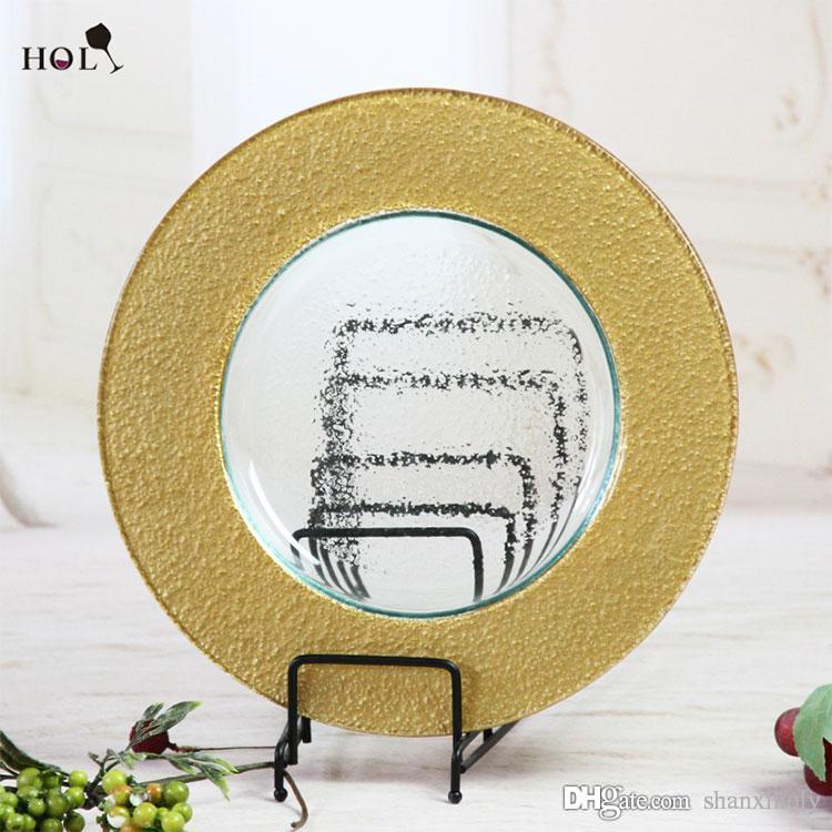 Por atacado placas de carregador de ouro de vidro de decoração de casamento