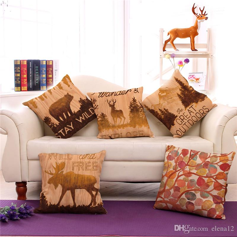 Vintage Deer and Goat Printed Animal Decorative Sofa Throw Cushion Pillow case Outdoor Decor Without Filling 240529