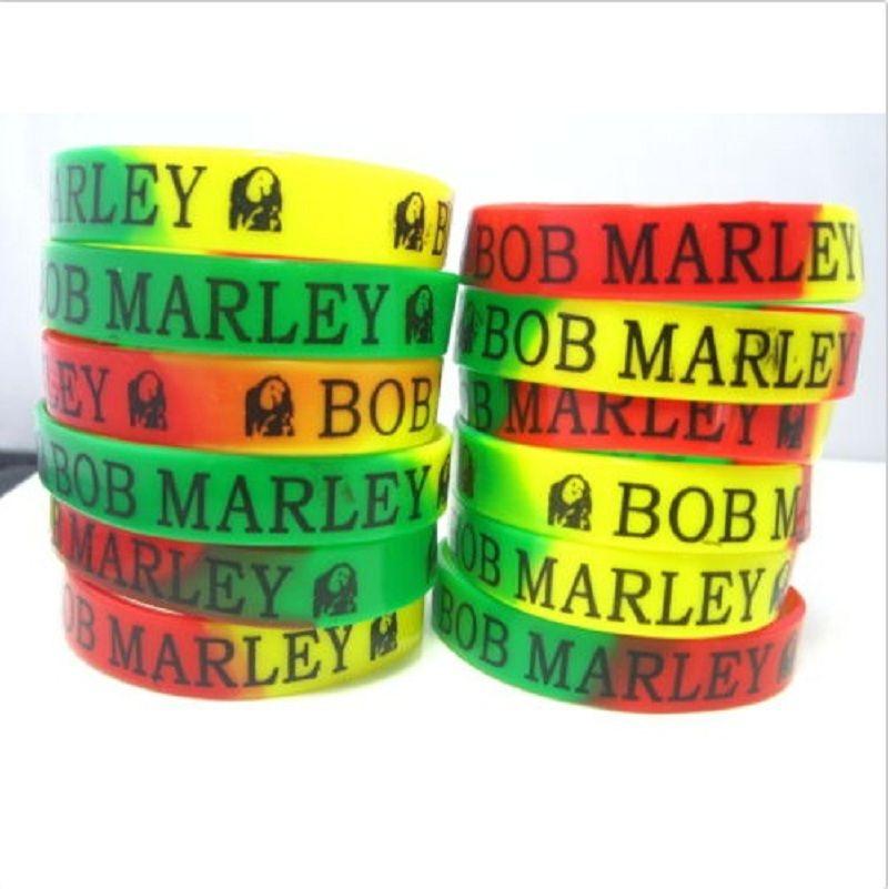A estrenar 50PCs Bob Marley Rasta Jamaica Reggae banda de goma de silicona pulseras pulseras lotes al por mayor