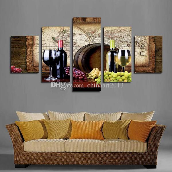 5 Pieces Современные HD Печать живописи на холсте Wine Glass Wall Art Pictures для кухни Столовая Украшение