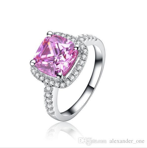작은 시뮬레이션 다이아몬드 보석 여성을위한 925 스털링 실버 약혼 웨딩 밴드 반지 패션 핑크 CZ 반지 서라운드