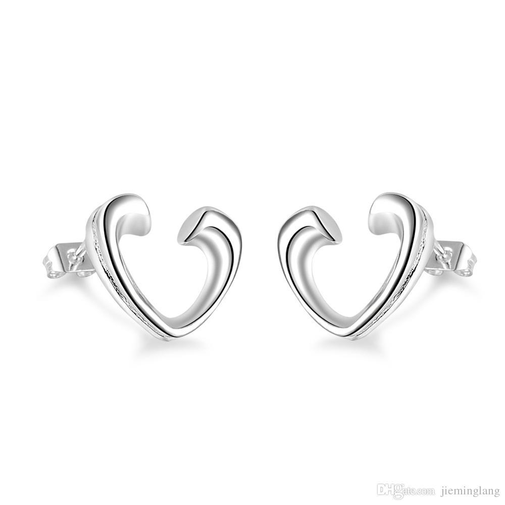 Pendientes de oreja de corazón abierto de moda de mujer Pendientes de botón