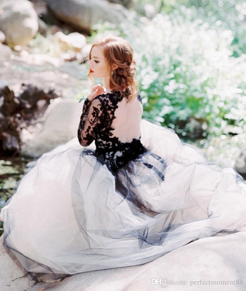 Discount 2017 Vintage Wedding Dresses Black And White Wedding Dress ...