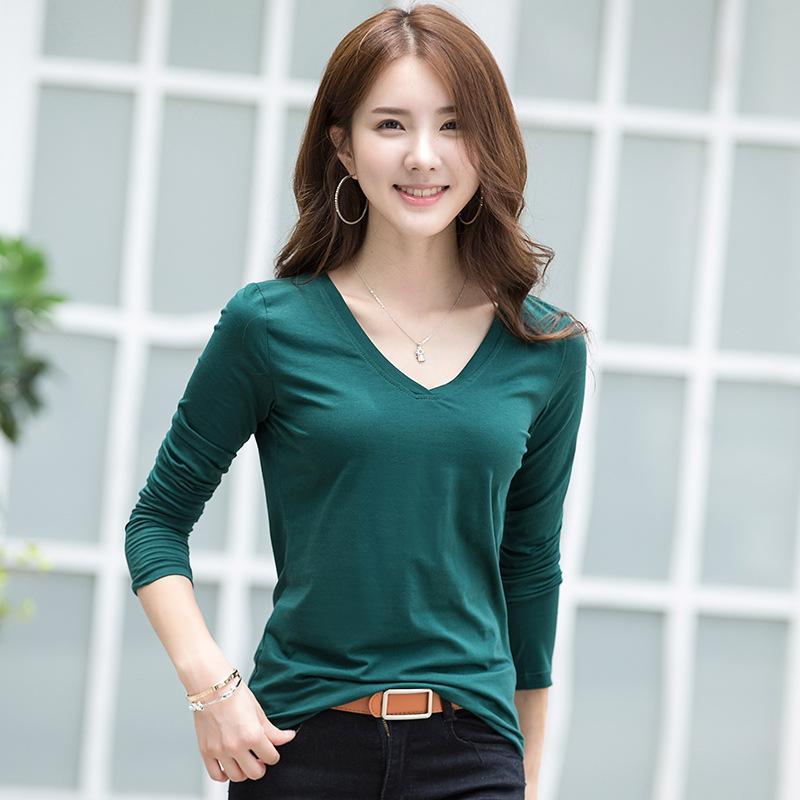 À manches longues T-shirt col V femme coton entièrement correspondre femmes de grande taille mince blouse chemise solide formation coréenne T-shirt