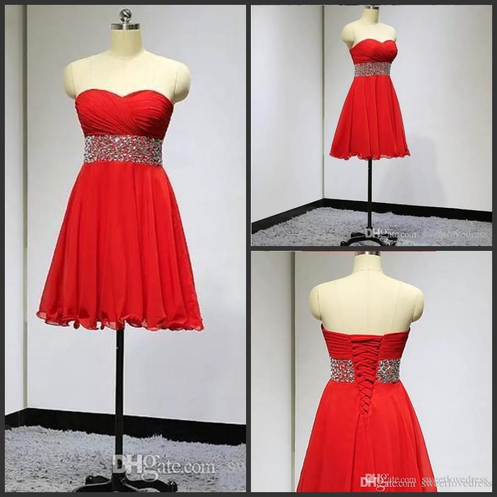 2017 red Strapless Chiffon short cocktail party Dress Sleeveless sash sequin Beading A-Line Back Lace-Up Graduation homecoming Dresses