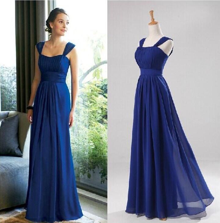 로얄 블루 신부 들러리 드레스 Strapless 민소매 정식 칼집 바닥 길이 시폰 댄스 파티 드레스
