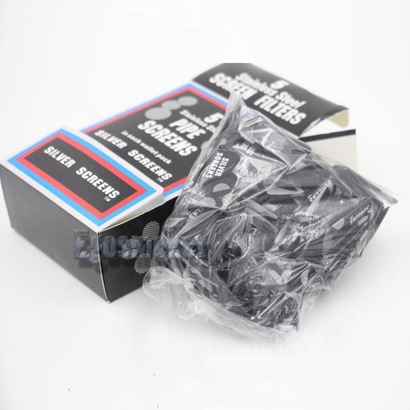 500pcs / Box Messing Screen Filter Tabakpfeife Bildschirme 20mm Filter Drahtgeflecht Pfeife Bildschirm Edelstahl Silber Metallfilter