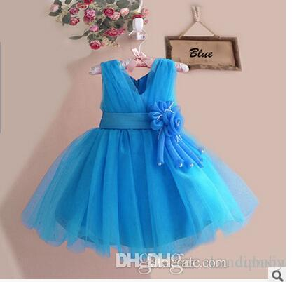 2016 Gown Wedding Prom Baby Bridesmaid Tutu Flower Girl Kids Princess Party Lace Dress free shipping
