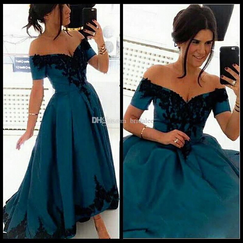 우아한 아가씨 어깨에 안녕하세요 아랍어 이브닝 드레스 2016 특별 한 경우에 대 한 블랙 Applique 새틴 파티 파티 드레스