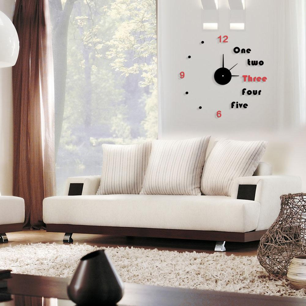 Modern Contrast Color Diy Mirror Effect Large Wall Clock Removable ...