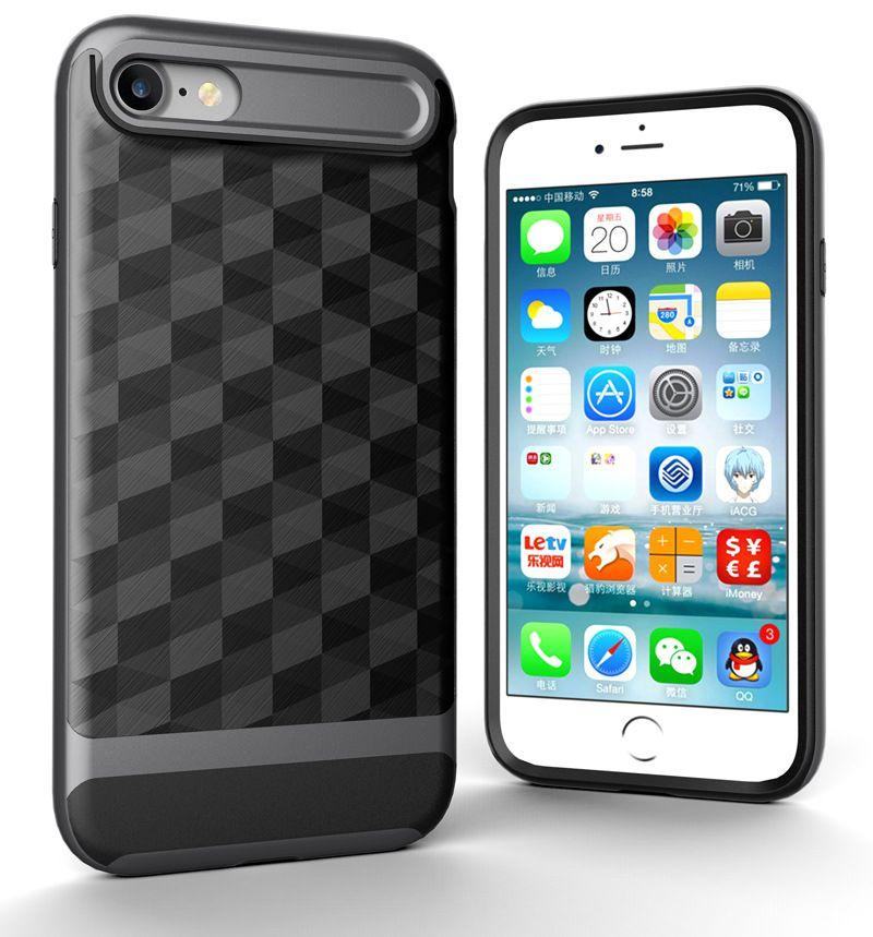 "Apple iPhone 6 / 6s / 7 / 8 (4.7 "") 용 iPhone 프레임의 경우, 3 in 1 초박형 및 슬림형 하드 케이스 코팅 미끄럼 방지 3D 프리즘 표면"
