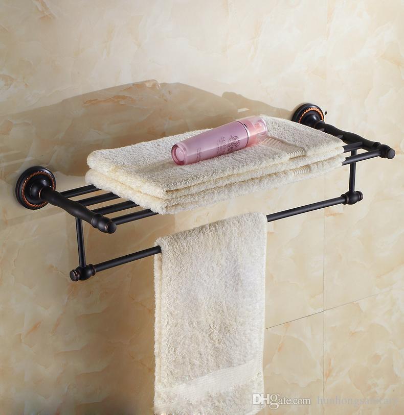 Frete grátis Estilo Europeu Preto cromo livre em pé mais quentes barras de rack Rail Doual Bar conjunto Toalha Titular Acessórios Do Banheiro
