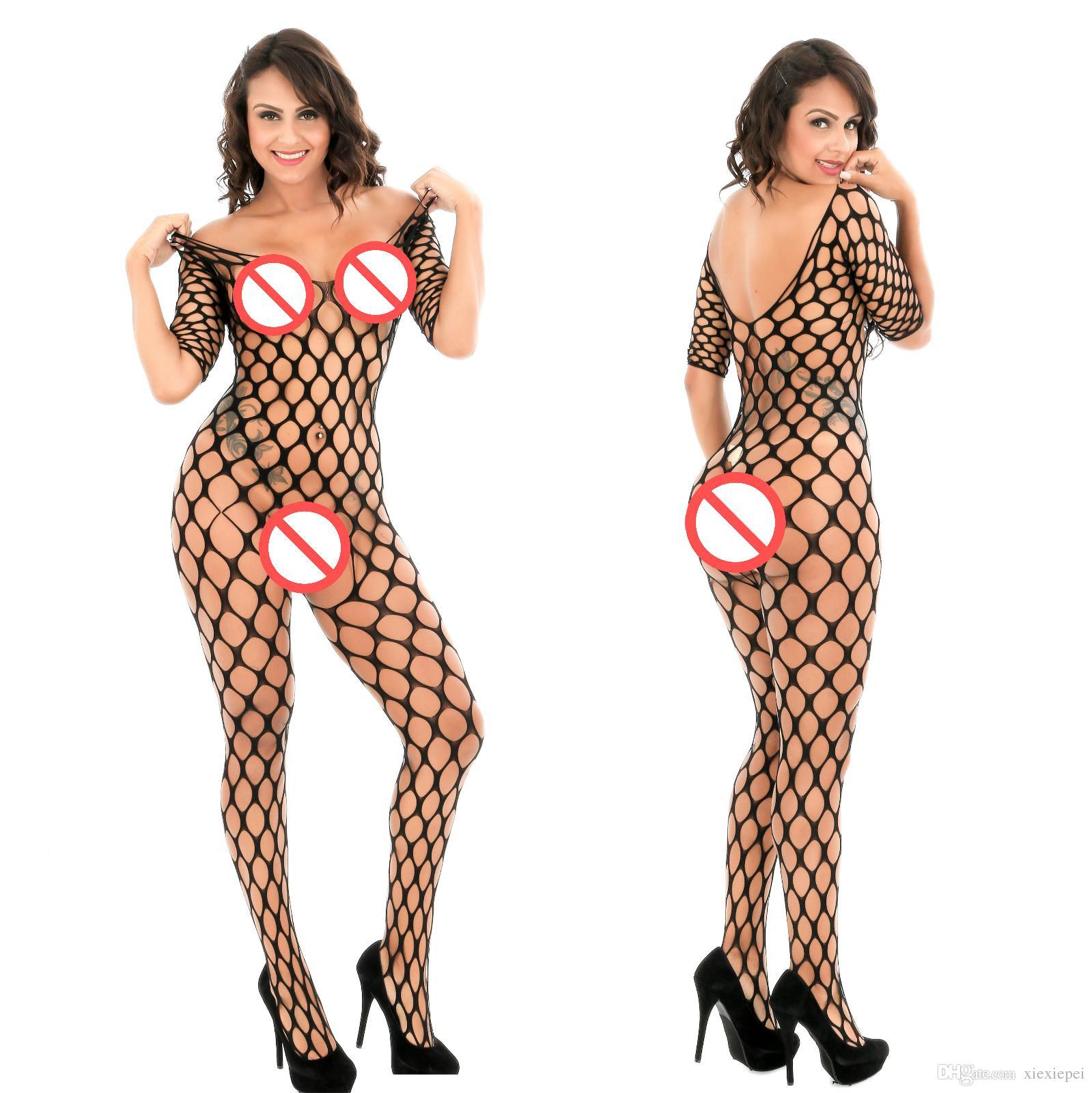 Külotlu çorap Mujer Seksi Kadın Fishnet Çit Jambo Net Elmas Mesh Uzun Kollu Bodystocking Çoraplar Külotlu çorap Erotik İç bodysuit