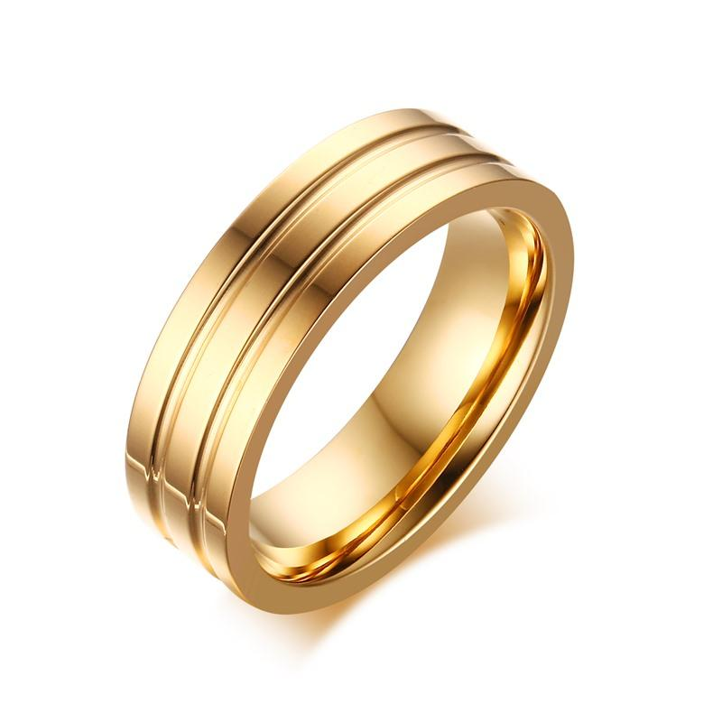 6mm Stainless Steel Gold Color Two Grooved Wedding Rings Free Laser Engraved