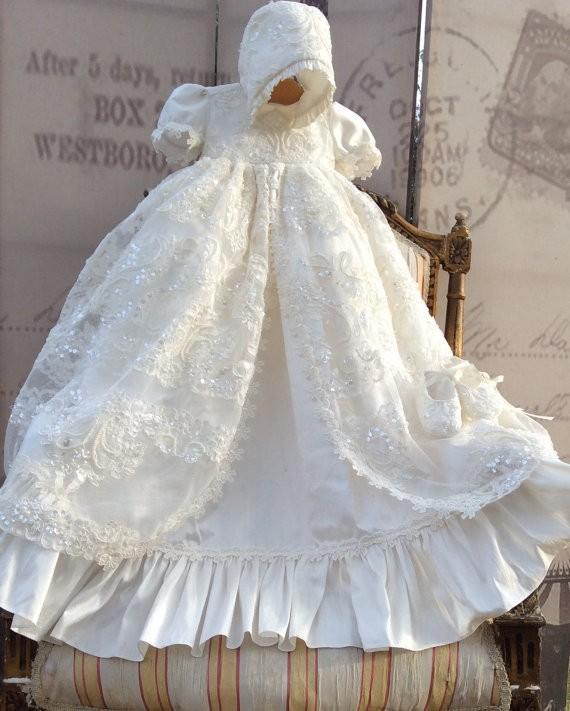 White Lace Baby Baptism Appliques Bling Lolita Robe Dresses Christening Gown New