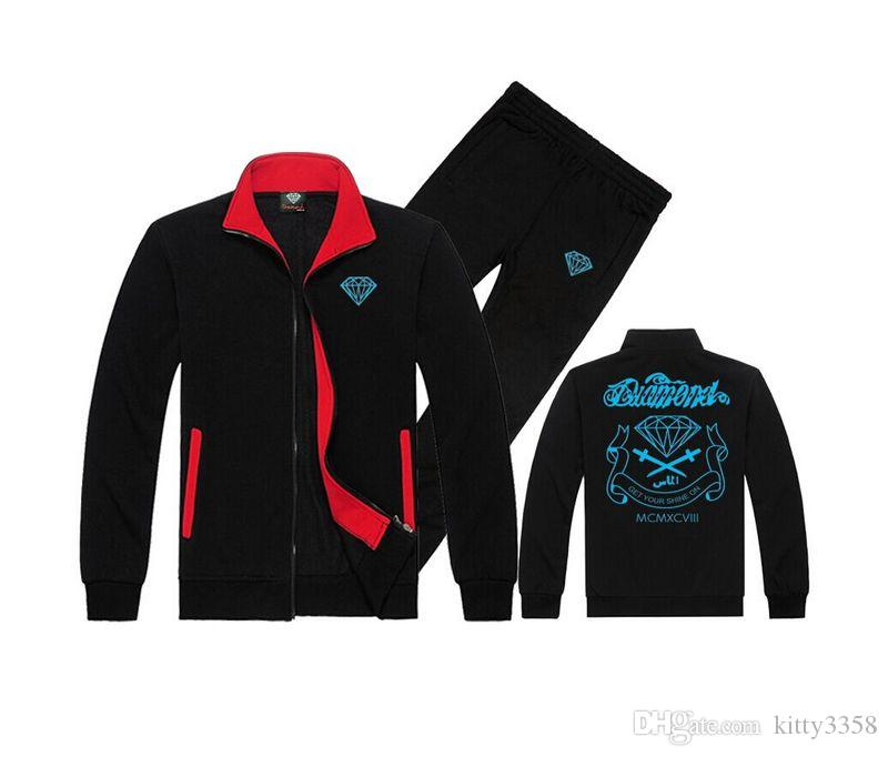 w852 Diamond Supply sweat suit knitting leisure sports / Male embroidery stripe hoodie + casual sports pants s-5xl